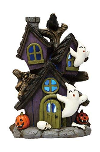 One Holiday Lane Mini LED Light-up Color-Changing Haunted Halloween Ghost House Tabletop Decoration - Mini House Haunted