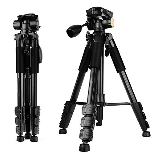Xinrangxin SLR Camera Tripod, Lightweight and Compact, Suitable for Home Travel Outdoor, Portable Lightweight Camera SLR Camera Ball Aluminum Tripod, Integrated Handle (Black, Red),Black