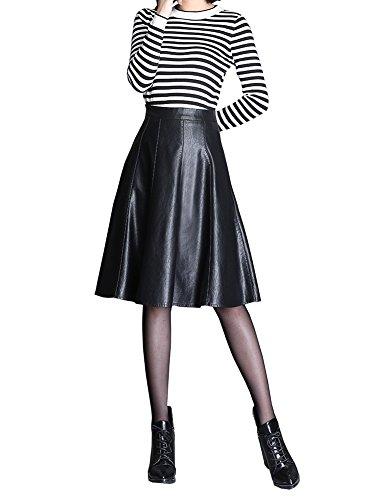 CoutureBridal Women Black A Line Skater Faux Leather Midi Long Skirt