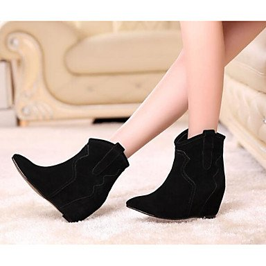 Booties EU36 Leather Pu Nubuck Casual CN35 Almond Fall Flat Boots Ankle 5 Shoes For Heel Fashion UK3 Women'S US5 Boots Black 5 Boots Winter RTRY qt7w1nIxWa