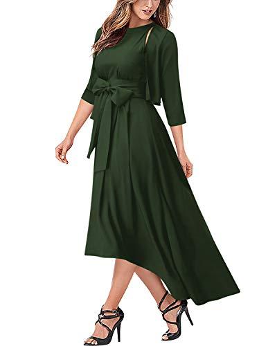 AUTCY Jacket+Belt+Dress Formal Asymmetrical Long Dresses for Women (2XL, Army Green)