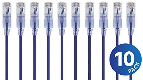 (Monoprice Cat6A Ethernet Network Patch Cable - 20 Feet - Purple   10-Pack, 10G - SlimRun Series)