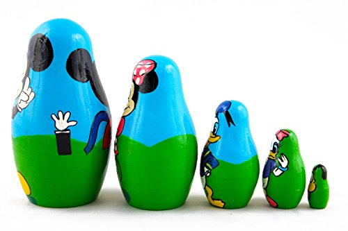 Matryoshka Babushka Russian Nesting Wooden Doll Cartoon Mickey Mouse Minnie Donald Duck Babouska Matrioska Stacking 5 Pcs by MATRYOSHKA&HANDICRAFT (Image #4)
