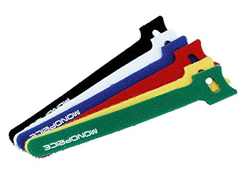 Price comparison product image Monoprice 106463 6-Inch Hook and Loop Fastening Cable Ties, 6 Colors (3 Packs of 60)