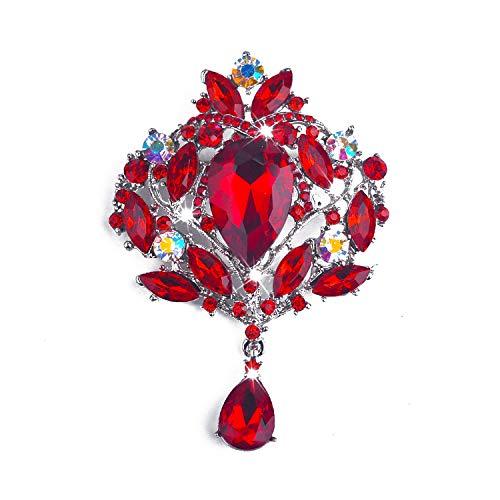 Yilanair Wedding Bridal Big Crystal Rhinestone Bouquet Brooch Pin for Women-Red ()