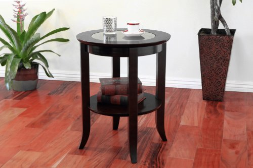 Beautiful Amazon.com: Frenchi Furniture Wood Genoa End Table, Round Side /Accent Table  , Inset Glass Espresso: Kitchen U0026 Dining