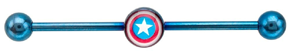 316l Surgical Steel Captain Americca Industrial Bar Barbell 1 1//2 Jewelry Sold Individually