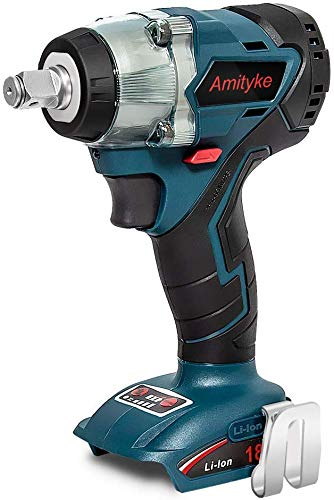 Amityke 18V Power Impact Wrench, Cordless Brushless Wrench 4 Rev 1 2 Drive Automatic Power Tool Compatible with Makita 18V BL1850B BL1860B Lithium-Ion Battery with LED Light