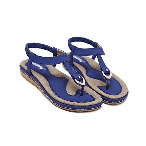 Sandals Feifei Women's Shoes Summer PU Material Fashion Vintage Flat Bottom Comfortable Beach 4 Colors Optional Blue 511BhZR