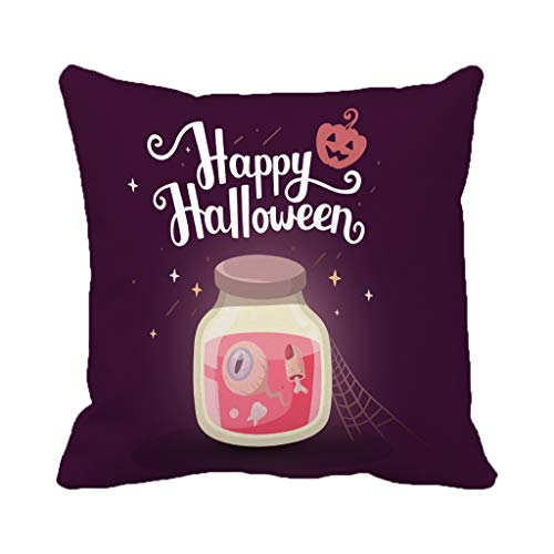 Batmerry Halloween/Thanksgiving Decorative Pillow Covers 18 x 18 inch, Halloween Jar Happy Orange Pumpkin Dark Greeting Drink Food Throw Pillows Covers Sofa Cushion Cover Pillowcase Home Gift -