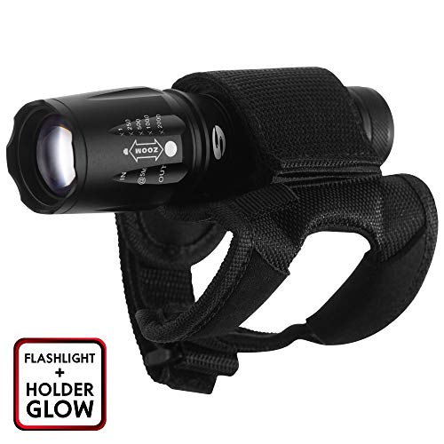 Tactical Led Flashlight - Portable Compact Brightest Waterproof Handhold High Lumen Flashlight - 5 Light Modes and Universal Flashlight Holder Glow for Diving Fishing Camping-Indoor/Outdoor Use
