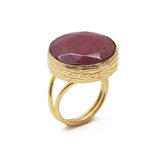 (Bronze & Cherry Red Agate Round Button Ring Adjustable Fits Sizes 5 - 9)