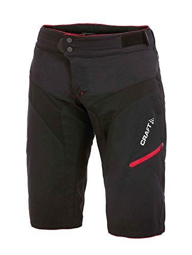 Craft Sportswear Men's Trail Mountain Bike Cycling Cooling Shorts with Removable Inner Shorts: protective/riding/compression, Black/Bright Red, 2X-Large