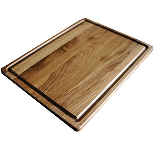 (Walnut Wood Cutting Board by Virginia Boys Kitchens - 20x15 American Hardwood Chopping and Carving Countertop Block with Juice Drip Groove)