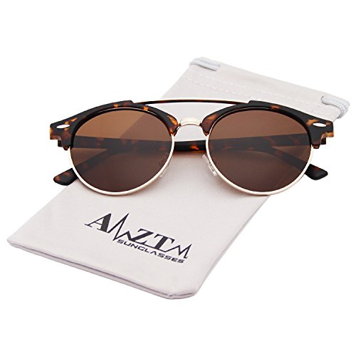 AMZTM Double Bridge Semi-Rimless Retro Polarized Reflective Round Wayfarer Sunglasses (Tortoiseshell Frame Dark Brown Lens, - Aviator Sunglasses Wayfarer