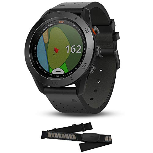 Garmin Approach S60 Golf Watch Premium Black Ceramic Bezel with Black Leather Band (010-01702-03) HRM-Dual Heart Rate Monitor