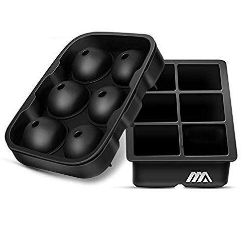 Ice Cube Trays, 2 Pack Easy Release Silicone Ice Trays - Large Square Cocktail Ice Cube Molds and Sphere Round Whiskey Ice Ball Maker for Chilling Bourbon Whiskey, Cocktail, Beverages