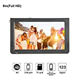 9 inch Portable Digital Television, Small 16:9 ATSC 1080P HD Video Player TFT LED TV Built-in Rechargeable Battery Support USB and TF Card for Car, Caravan, Camping, Outdoor or Kitchen