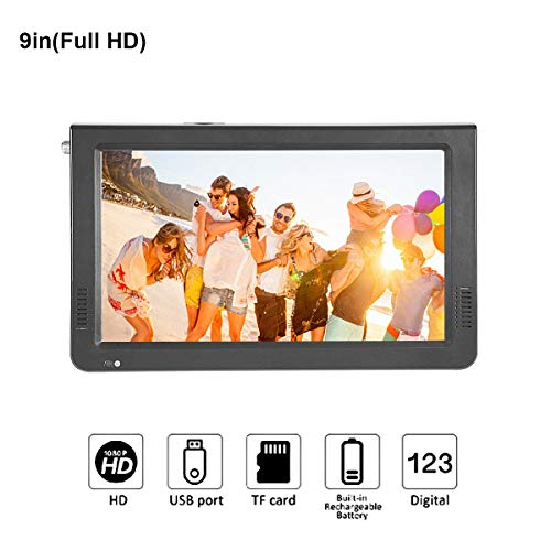(9 inch Portable Digital Television, Small 16:9 ATSC 1080P HD Video Player TFT LED TV Built-in Rechargeable Battery Support USB and TF Card for Car, Caravan, Camping, Outdoor or Kitchen)