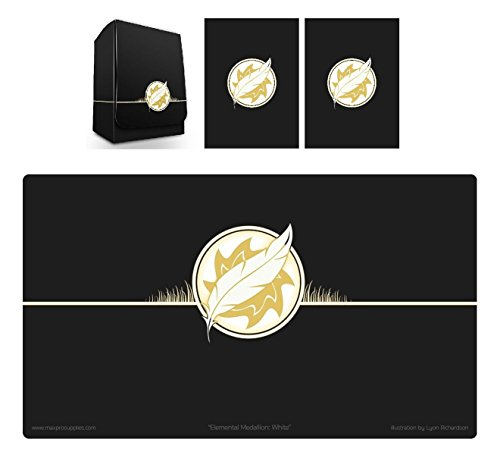 1 ICONIC ELEMENTAL SUN Symbol WHITE Deck Box , PLAYMAT and 100 DOUBLE MATTE Sleeves (fits MTG Mana FORCE OF WILL Pokemon Cards) by Max-Pro by Max Protection