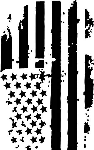 Distressed American Flag Truck Hood Vinyl Decal Matte Black 0065