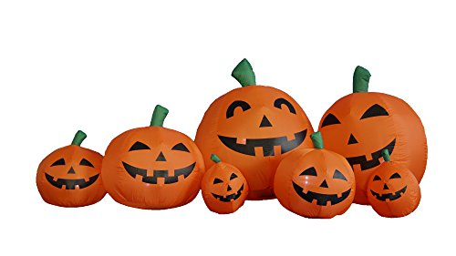 [7.5 Foot Long Halloween Inflatable Pumpkins Yard Decoration] (Halloween Yard)