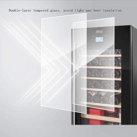 Bodega, con Cerradura de Seguridad Puerta de Vidrio Templado Bodegas y enfriadores, Estante extraíble de Haya Enfriador de Vino Independiente