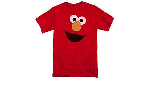 Barrio Sésamo Elmo Face adultos de manga corta T-Shirt