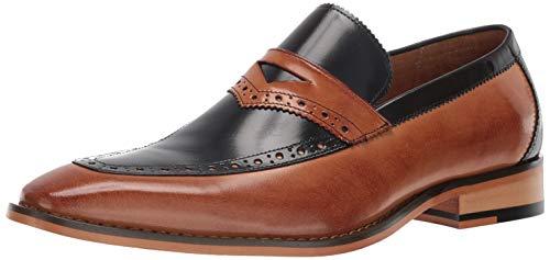 STACY ADAMS Men's Sanhurst Moc-Toe Penny Slip-on Loafer, Navy Multi 13 M US (Slip Stacy On Adams Mens)