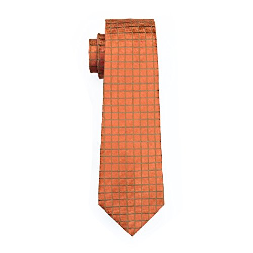 Plaid CAOFENVOO Silk Tie Check Men's Darkorange Necktie BFTFEv