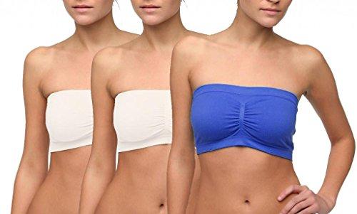 Dinamit Fashion 3-Pack Seamless Strapless Bandeau Tube Top Bra - 2White - 1Blue - XS-S