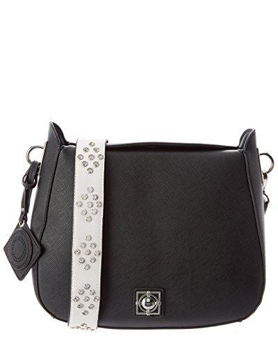 Catherine Malandrino Mara Saddle Shoulder Bag with Detachable Studded Strap, Black