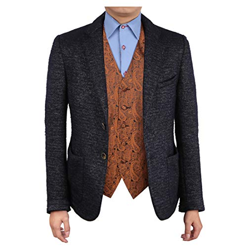 Jacobite Waistcoat - Epoint EGC1B02A-M Brown Black Patterned Graduation Gift Waistcoat Woven Microfiber Young Design Medium Vest