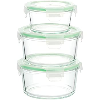 Kinetic 6 Piece (28oz, 13oz) Round GoGreen Glassworks Oven Safe Glass Food Storage Container Set with Leak Proof Lids; (3 Containers and 3 Lids);01353