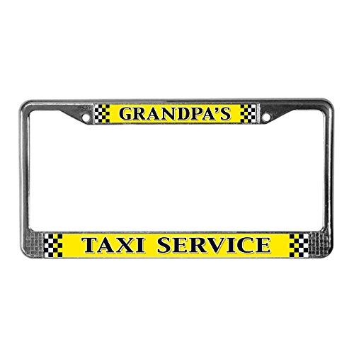 CafePress Grandpa's Taxi Service Chrome License Plate Frame, License Tag Holder