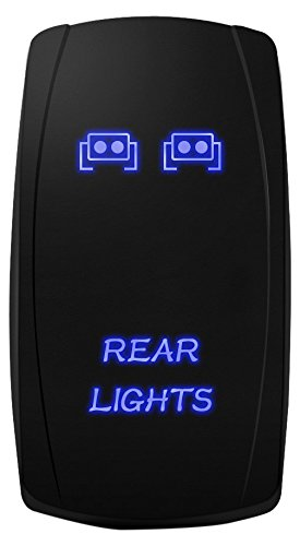 MICTUNING MIC-LSR12 5Pin Laser Rear Lights Rocker Switch On-Off LED Light 20A 12V, Blue
