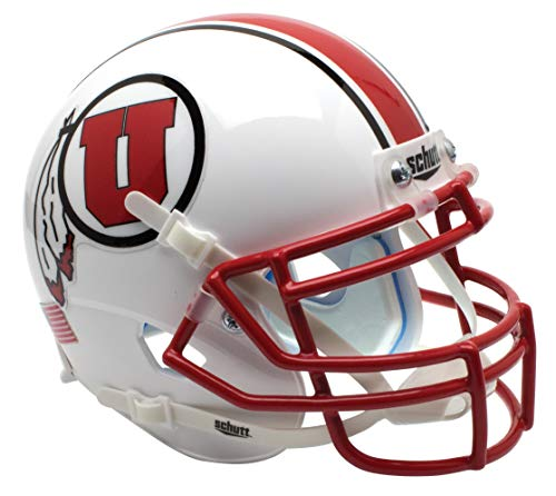 - NCAA Utah Utes with Stripe Mini Helmet, One Size, White