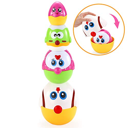 (VATOS Nesting Plastic Eggs Toy, Eggs Stacking Toy, Stacker Toys for 18 Months+ Baby Infant Toddler, Educational Toys for 1.5+ Years Old Girl and Boys, Cute Chicken Family Style Baby Toddler Toy)