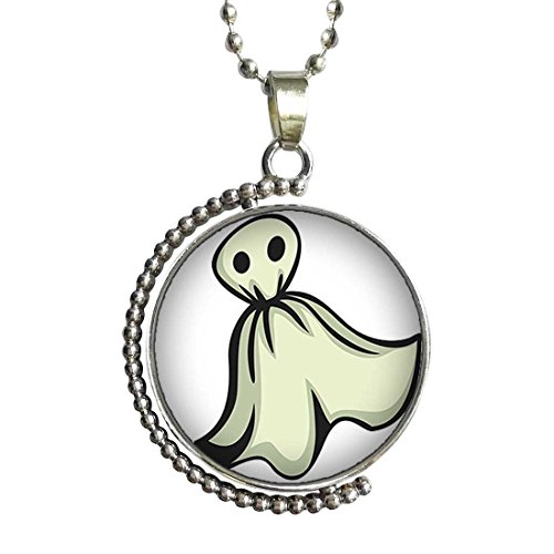 GiftJewelryShop Halloween Ghost Clipart Glass Cabochon Rotatable Lucky