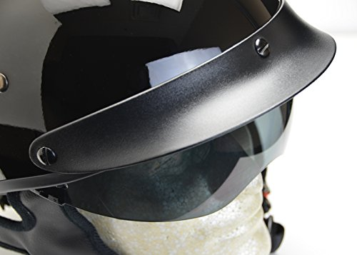Vega Helmets Warrior Motorcycle Half Helmet with Sunshield for Men & Women, Adjustable Size Dial DOT Half Face Skull Cap for Bike Cruiser Chopper Moped Scooter ATV (X-Large, Gloss Black)