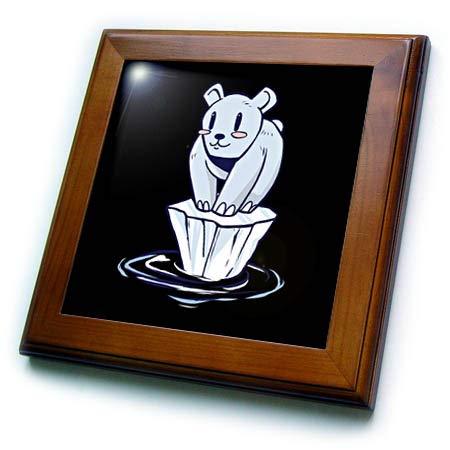 3dRose Sven Herkenrath Animal - Cartoon Comic with Polar Bear Funny Animal Zoo - 8x8 Framed Tile (ft_317544_1)
