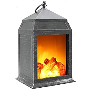 Fireplace Lamp Led Flame Log Effect Fire Place Brushed Style Ornaments Cosy Home Decor
