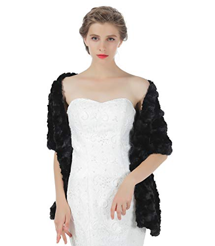 Faux fur Shawl Women Wrap Wedding Stole Bridal Cape Bridesmaids Shrug Winter Cover Up for Evening Dress S79 Black