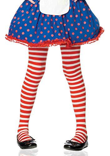 Red White Tights (Leg Avenue Children's Striped Tights, Red/White,)