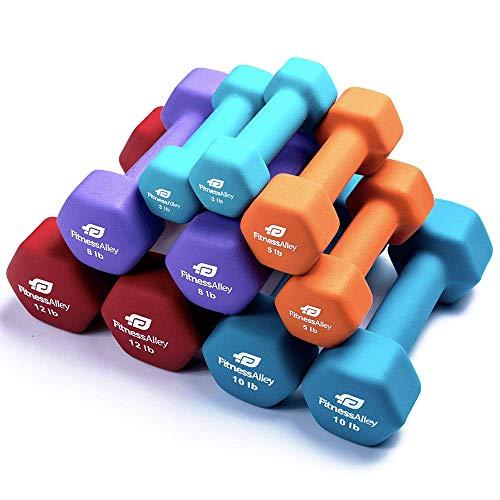 Fitness Alley Neoprene Dumbbell 5 Pairs Set Coated for Non Slip Grip - Hex Dumbbells Weight Set - Neoprene Hand Weight Pairs - Hex Hand Weights Neoprene Dumbbells Combo (3lb,5lb,8lb,10lb &12lb) (Best Dumbbells For Women)