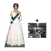 *COMMEMORATIVE PACK* - QUEEN ELIZABETH II (CORONATION ERA) - LIFESIZE CARDBOARD CUTOUT (STANDEE / STANDUP) (BRITISH DIAMOND JUBILEE 2012) - INCLUDES 8X10 (25X20CM) STAR PHOTO - FAN PACK #220