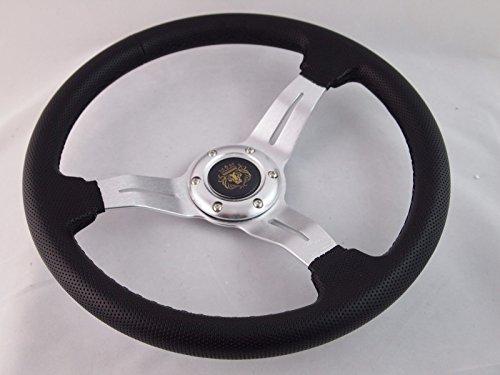 New World Motoring YAMAHA GOLF CART & POLARIS RHINO Silver steering wheel W/billet Adapter 3 spoke