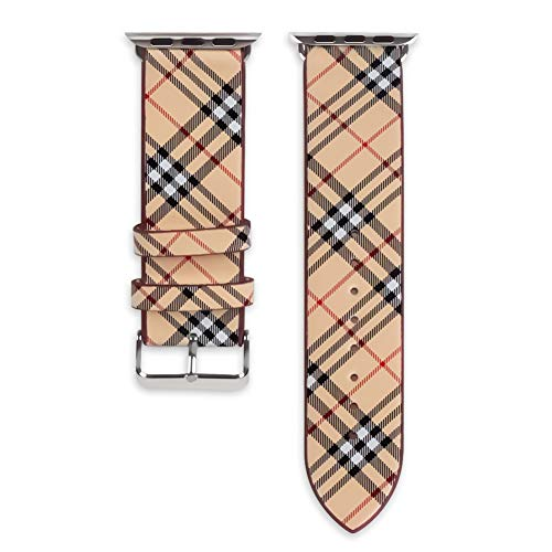 44mm 42mm Tartan Plaid Style Replacement Strap Wrist Band Watch Band with Silver Metal Adapter Compatible for Apple Watch Series 4 3 2 1 (Not fit for iWatch 40mm/38mm) Khaki