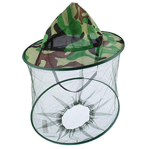 Gybai Mosquito Green Camouflage Insects net Head mesh Protection Cap Outdoor Garden Supplies