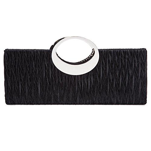 Pleated Wedding Party Purse Clutch Satin Elegant Black Evening Rhinestone Chichitop Handbag fB6aqn
